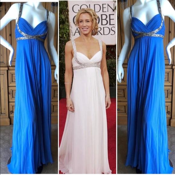 f32121e50cd Marchesa Dresses | Notte Blue Silver Sequin Grecian Gown S10 | Poshmark